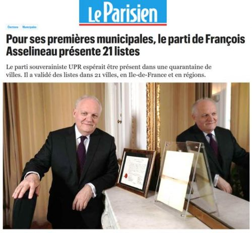 LE PARISIEN CONSACRE UN ARTICLE À LA 1re PARTICIPATION DE L'UPR AUX ÉLECTIONS MUNICIPALES