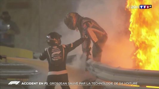 Accident en F1:  Romain Grosjean sauvé par la technologie de sa voiture